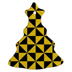 Triangle1 Black Marble & Yellow Colored Pencil Ornament (christmas Tree)