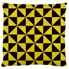 Triangle1 Black Marble & Yellow Colored Pencil Large Cushion Case (two Sides)