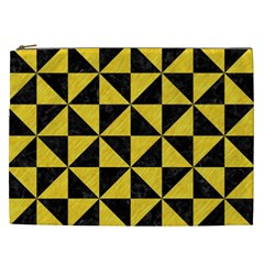 Triangle1 Black Marble & Yellow Colored Pencil Cosmetic Bag (xxl)