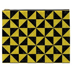 Triangle1 Black Marble & Yellow Colored Pencil Cosmetic Bag (xxxl)