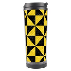 Triangle1 Black Marble & Yellow Colored Pencil Travel Tumbler