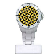 Triangle1 Black Marble & Yellow Colored Pencil Plastic Nurses Watch
