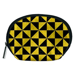 Triangle1 Black Marble & Yellow Colored Pencil Accessory Pouches (medium)
