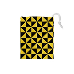 Triangle1 Black Marble & Yellow Colored Pencil Drawstring Pouches (small)