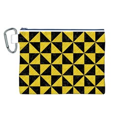 Triangle1 Black Marble & Yellow Colored Pencil Canvas Cosmetic Bag (l)