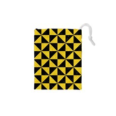Triangle1 Black Marble & Yellow Colored Pencil Drawstring Pouches (xs)