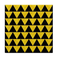 Triangle2 Black Marble & Yellow Colored Pencil Tile Coasters