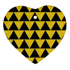 Triangle2 Black Marble & Yellow Colored Pencil Ornament (heart)