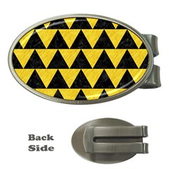 Triangle2 Black Marble & Yellow Colored Pencil Money Clips (oval)