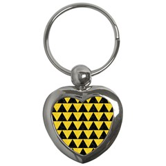 Triangle2 Black Marble & Yellow Colored Pencil Key Chains (heart)
