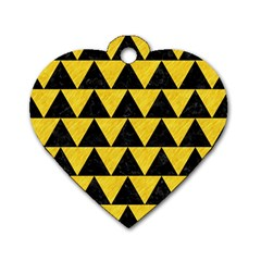 Triangle2 Black Marble & Yellow Colored Pencil Dog Tag Heart (two Sides)