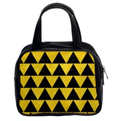 Triangle2 Black Marble & Yellow Colored Pencil Classic Handbags (2 Sides)