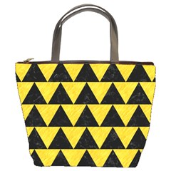 Triangle2 Black Marble & Yellow Colored Pencil Bucket Bags
