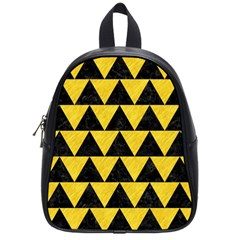 Triangle2 Black Marble & Yellow Colored Pencil School Bag (small)