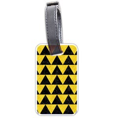 Triangle2 Black Marble & Yellow Colored Pencil Luggage Tags (two Sides)