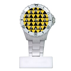 Triangle2 Black Marble & Yellow Colored Pencil Plastic Nurses Watch