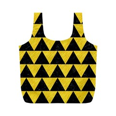 Triangle2 Black Marble & Yellow Colored Pencil Full Print Recycle Bags (m)