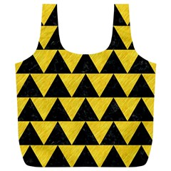 Triangle2 Black Marble & Yellow Colored Pencil Full Print Recycle Bags (l)