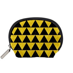 Triangle2 Black Marble & Yellow Colored Pencil Accessory Pouches (small)