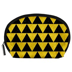 Triangle2 Black Marble & Yellow Colored Pencil Accessory Pouches (large)