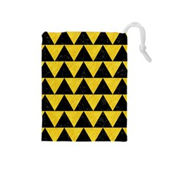Triangle2 Black Marble & Yellow Colored Pencil Drawstring Pouches (medium)