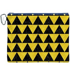Triangle2 Black Marble & Yellow Colored Pencil Canvas Cosmetic Bag (xxxl)
