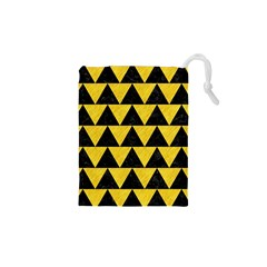Triangle2 Black Marble & Yellow Colored Pencil Drawstring Pouches (xs)