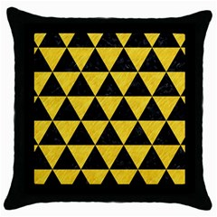 Triangle3 Black Marble & Yellow Colored Pencil Throw Pillow Case (black)