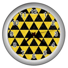 Triangle3 Black Marble & Yellow Colored Pencil Wall Clocks (silver)