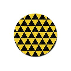 Triangle3 Black Marble & Yellow Colored Pencil Magnet 3  (round)