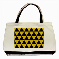 Triangle3 Black Marble & Yellow Colored Pencil Basic Tote Bag