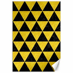 Triangle3 Black Marble & Yellow Colored Pencil Canvas 12  X 18