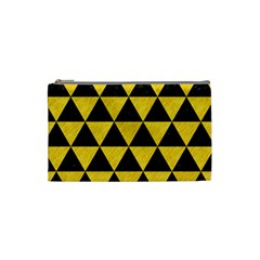 Triangle3 Black Marble & Yellow Colored Pencil Cosmetic Bag (small)