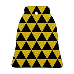 Triangle3 Black Marble & Yellow Colored Pencil Ornament (bell)