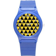 Triangle3 Black Marble & Yellow Colored Pencil Round Plastic Sport Watch (s)