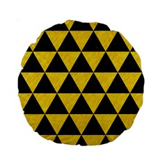 Triangle3 Black Marble & Yellow Colored Pencil Standard 15  Premium Round Cushions