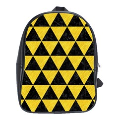 Triangle3 Black Marble & Yellow Colored Pencil School Bag (xl)