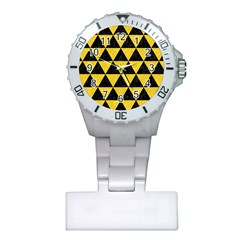 Triangle3 Black Marble & Yellow Colored Pencil Plastic Nurses Watch