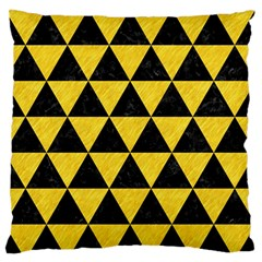 Triangle3 Black Marble & Yellow Colored Pencil Large Flano Cushion Case (two Sides)