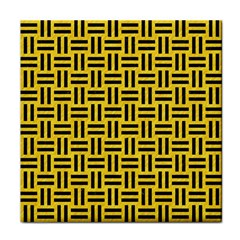 Woven1 Black Marble & Yellow Colored Pencil Tile Coasters