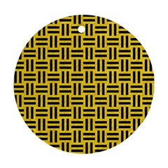 Woven1 Black Marble & Yellow Colored Pencil Ornament (round)