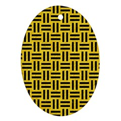 Woven1 Black Marble & Yellow Colored Pencil Ornament (oval)