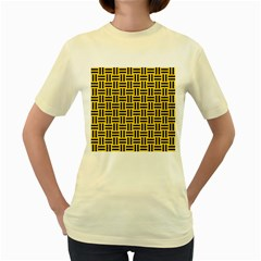 Woven1 Black Marble & Yellow Colored Pencil Women s Yellow T Shirt