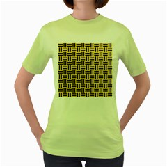 Woven1 Black Marble & Yellow Colored Pencil Women s Green T Shirt