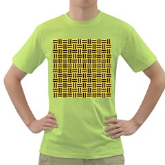 Woven1 Black Marble & Yellow Colored Pencil Green T Shirt