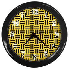 Woven1 Black Marble & Yellow Colored Pencil Wall Clocks (black)