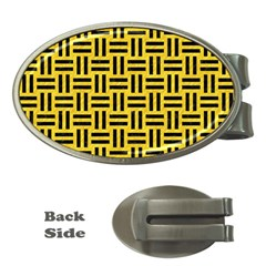 Woven1 Black Marble & Yellow Colored Pencil Money Clips (oval)
