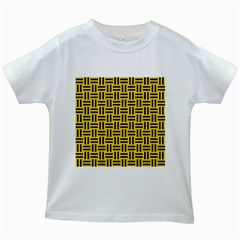 Woven1 Black Marble & Yellow Colored Pencil Kids White T Shirts