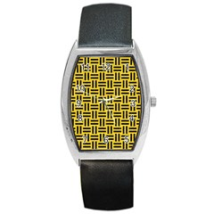Woven1 Black Marble & Yellow Colored Pencil Barrel Style Metal Watch
