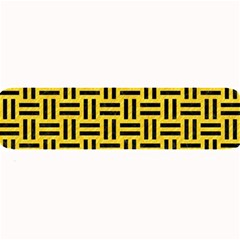 Woven1 Black Marble & Yellow Colored Pencil Large Bar Mats